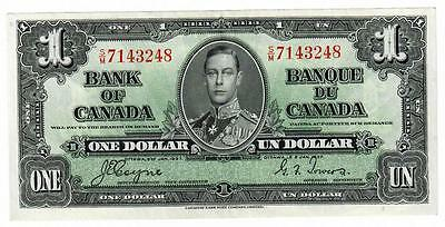 1937 Bank Of Canada Banque Du Canada $1 One Dollar Note Coyne/towers Choice Cu