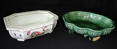 2x19C Chinese Pottery Green Glaze & White Bulb Basins Famille Rose Enamels (Drc)