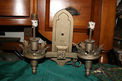 Antique Religious Medieval Gothic Wall Sconce Double Light Fixture Candelabra-#3