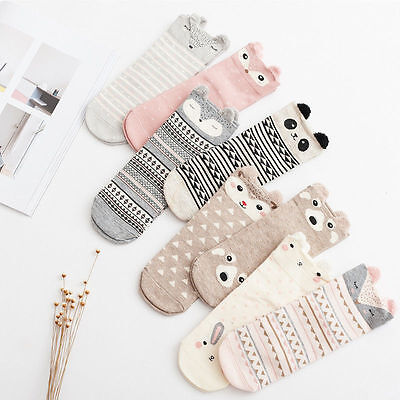 3 Pairs New 3D Animal Head Knitted Ladies Girls Cotton Winter Bed Socks Non Slip