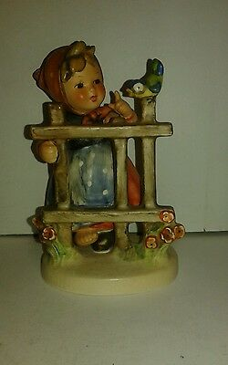 Signs of Spring Goebel Hummel Figurine TMK-4 Two Girls w/ Fence & Bird #203