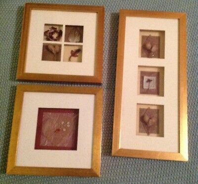 NEXT SET OF 3 wooden 3D framed pictures with Flowers & leaves ...