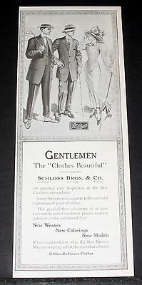 1910 Old Magazine Print Ad, Schloss Baltimore Clothes, Smart Style In Apparel!