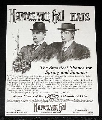 1910 Old Magazine Print Ad, Hawes Von Gal Hats, The Smartest Shapes For Spring!