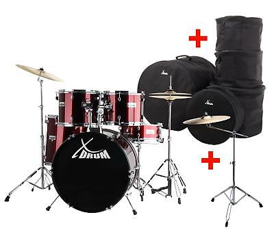 Acoustic Drum Kit Beginner Set 3 Toms Snare Cymbals Stands Throne Pedals Gigbags