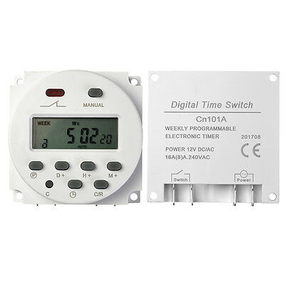 LCD Digital Power Programmable DC 12V 16A 24 Hour 7 Day Timer Time Relay Switch