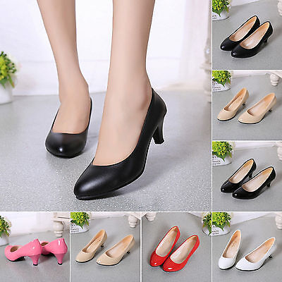 Women Kitten Mid Heel Work Shoes Ladies Wedding Office Smart Court Pumps Shoes