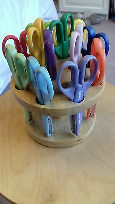 Yellow Moon 12 pairs of Craft Scissors on Wooden Carousel