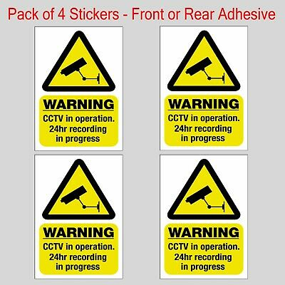 2  CCTV in operation sticker signs - Warning Security Static Cling Self Adhesive
