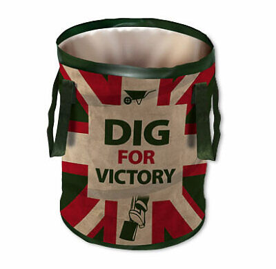 Retro DIG FOR VICTORY Jumbo POP UP Garden Waste Bin Tidy BAG Carry Handles NEW
