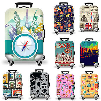 Dust-proof Travel Luggage Cover Elastic Suitcase Protector Abstract Map S M L XL