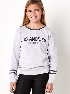Girls Grey Black 100% Cotton Los Angeles Champions Sweatshirt Age 2-14 Years