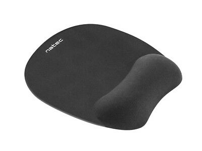 NATEC Anti-Slip Mouse Pad  MEMORY FOAM FILLING  Wrist Support - SUPER SOFT Black