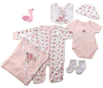 Beautiful 7 Piece Layette Clothing Gift Set & Soft Toy Duck by Rock A Bye Baby