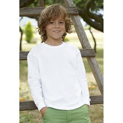 Fruit Of The Loom Kids Long Sleeve T-Shirt Plain Boys Girls Childrens School Lot