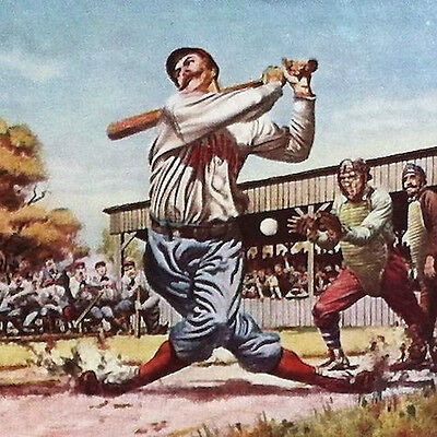 Vintage Original BASEBALL PLAYER CASEY AT THE BAT  Blotter 1930s John Hancock