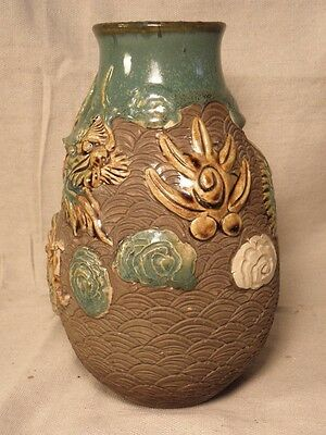 Japanese Or Chinese Pottery Vase With Dragon