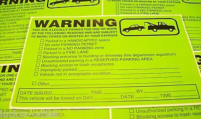 25 Pack Green Multi-Violation No Parking Towing Warning Sign Car Window Stickers