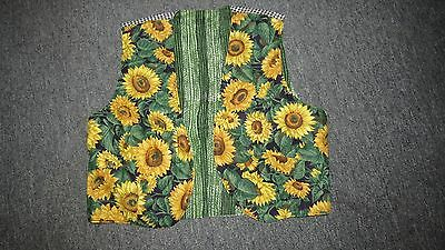 Vintage Womens Sunflower Vest Blue Green Checkered Cute ! Small