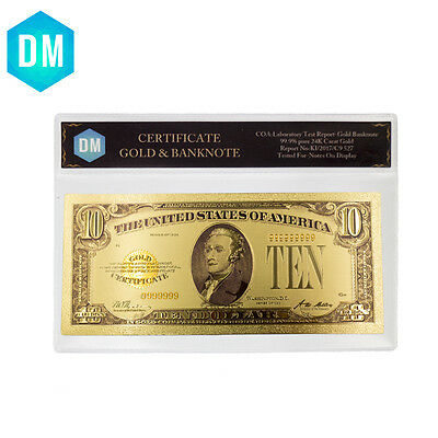 American Color Gold Banknote Custom 24k Gold Plated Pape Money with COA Sleeve