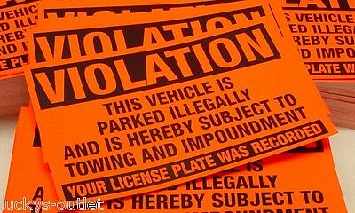 50 Orange Violation Parked illegally Towing Warning Impound No Parking Stickers