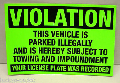 10-Pack No Illegal Parking Violation Tow Impound Zone Warning Stickers 4X6 Green