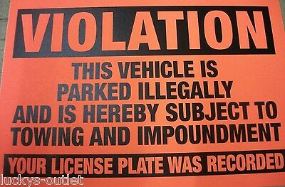 10 Pack No Illegal Parking Violation Tow Impound Zone Warning Stickers 4X6 Orang