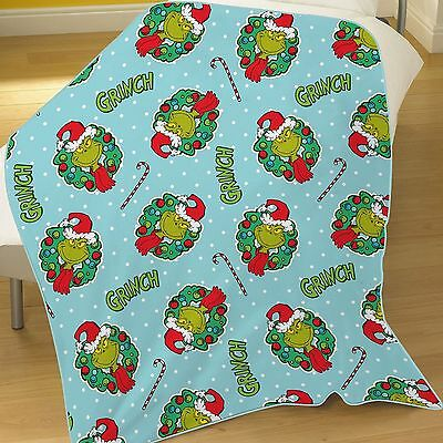 The Grinch 'Christmas' Flannel Rotary Fleece Blanket Throw Brand New Gift