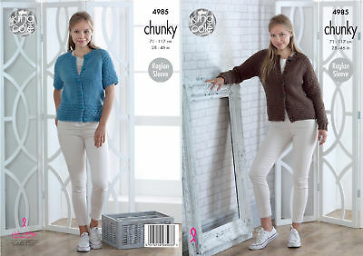 Ladies Raglan Sleeve Cardigans Womens Chunky Knitting Pattern King Cole 4985