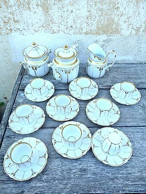 Victorian French Sevres V Paris coffee or tea set /  8 cups & plates + 3 pieces