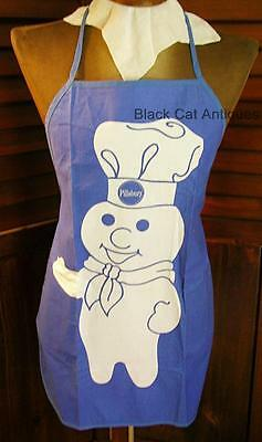 Original Cute Pillsbury Doughboy Blue Bib Apron 100% Cotton NWOT