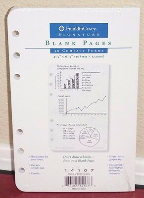 Franklin Covey Compact Size Blank Pages 4.25 x 6.75  #14107 *NEW*