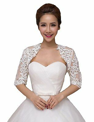 2016 Womens Lace Half Sleeves Wedding Shrug Bridal Bolero Jackets Shawl Ivory