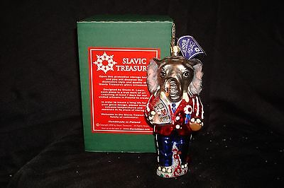 "NIB Slavic Treasures "" Campaigning Elephant"" Hand Blown Christmas Ornament"