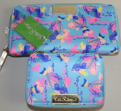 NEW Lilly Pulitzer Set of 2 Travel Jewelry CASE & WALLET Shorely Blue Sandstorm