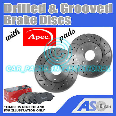 D/_G/_911 with Apec Pads Pair Drilled /& Grooved 5 Stud 288mm Vented Brake Discs
