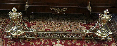 Best ADJUSTABLE Solid Polished Bronze French Fireplace Fender Chenets C1880s