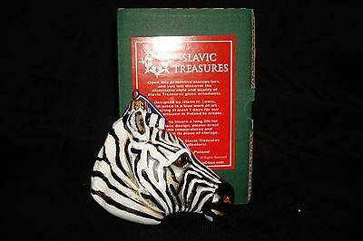 "NIB Slavic Treasures ""Zebra Head"" Hand Blown & Painted Glass Christmas Ornament"