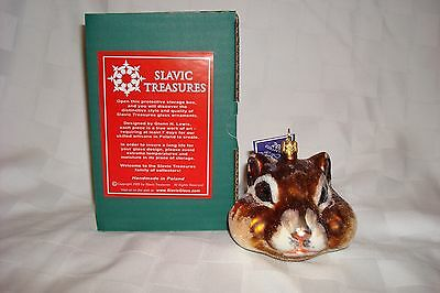 "Slavic Treasures ""Chipmunk Head"" Hand Blown & Painted Glass Christmas Ornament"