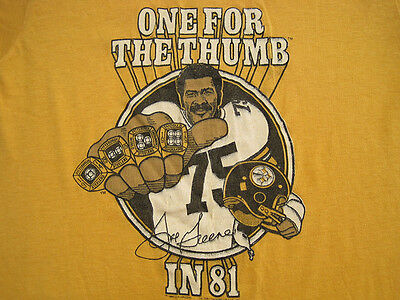 SOFT 1981 vtg MEAN JOE GREENE pittsburgh steelers T SHIRT 80s 50/50 extra small