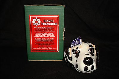 "Slavic Treasures ""Dalmation Head"" Hand Blown & Painted Glass Christmas Ornament"