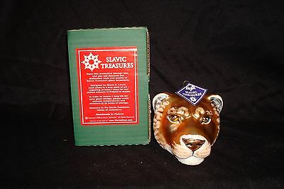 "Slavic Treasures ""Lioness Head"" Hand Blown & Painted Glass Christmas Ornament"