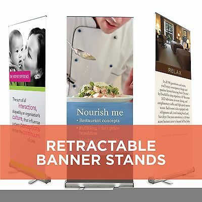 33x79 Retractable Roll Pop Up Banner Stand Trade Show Sign Display Free Printing