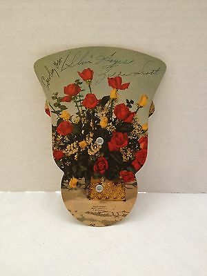 Vintage Fold Out Cardboard 1940's WHO Radio Advertising Hand Fan