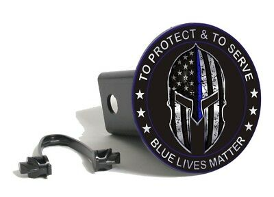 Thin Blue Line Warrior To Protect & Serve Blue Lives Matter Hitch Cover