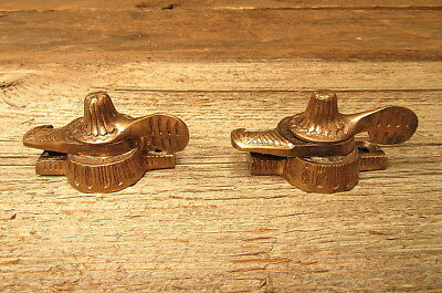 Set of 2 Vintage Solid Brass Window Lock Sash Latch Top Fittings Ornate Antique