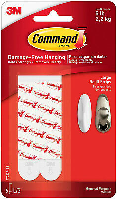 3M Command Large Refill Strips Damage Free Hanging Holds 5lbs 2.2kg 6pk