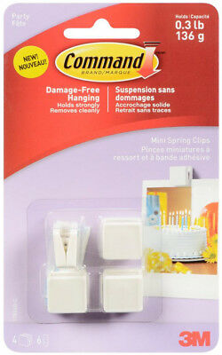 3M Command Mini Spring Clips Damage Free Hanging Holds 0.3lb 125g 4pk