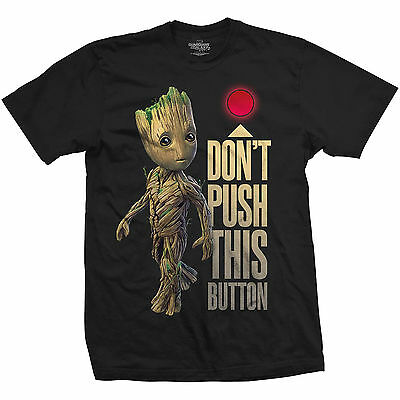Official T Shirt GUARDIANS OF THE GALAXY 2- GROOT & BUTTON Black Mens Licensed