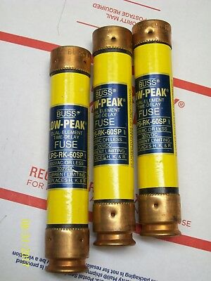**lot Of 9** Low Peak 60A 60 Amp Buss Fuse , Lps-Rk-60Sp